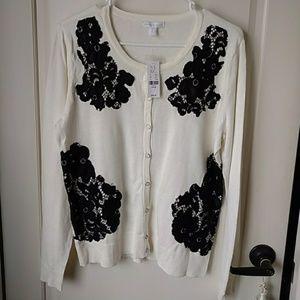 Beautiful Ivory Black Lace Cardigan Large